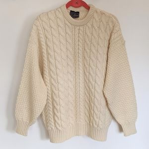 Vintage Traditions White Chunky Knit Wool Sweater